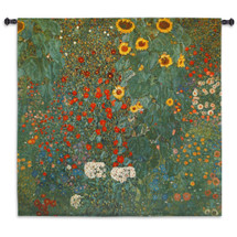 Farm Garden with Sunflowers by Gustav Klimt | Woven Tapestry Wall Art Hanging | Nature Mixed Sunflowers | 100% Cotton USA Size 45x45 Wall Tapestry