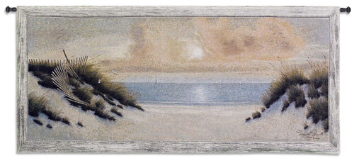 Summer Moments II by Diane Romanello | Woven Tapestry Wall Art Hanging | Warm Ocean Shore Sunset at Sand Dunes | 100% Cotton USA Size 53x23 Wall Tapestry
