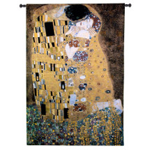 The Kiss by Gustav Klimt | Woven Tapestry Wall Art Hanging | Golden Period Romantic Masterpiece | 100% Cotton USA Size 76x53 Wall Tapestry