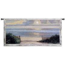 Summer Moments II by Diane Romanello | Woven Tapestry Wall Art Hanging | Warm Ocean Shore Sunset with Sailboats | 100% Cotton USA Size 54x26 Wall Tapestry
