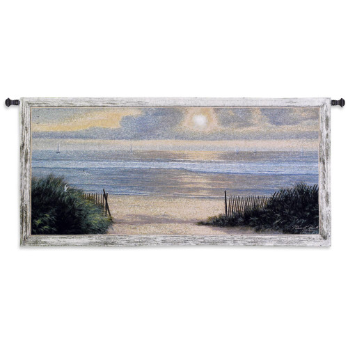 Summer Moments II by Diane Romanello   Woven Tapestry Wall Art Hanging   Warm Ocean Shore Sunset with Sailboats   100% Cotton USA Size 54x26 Wall Tapestry
