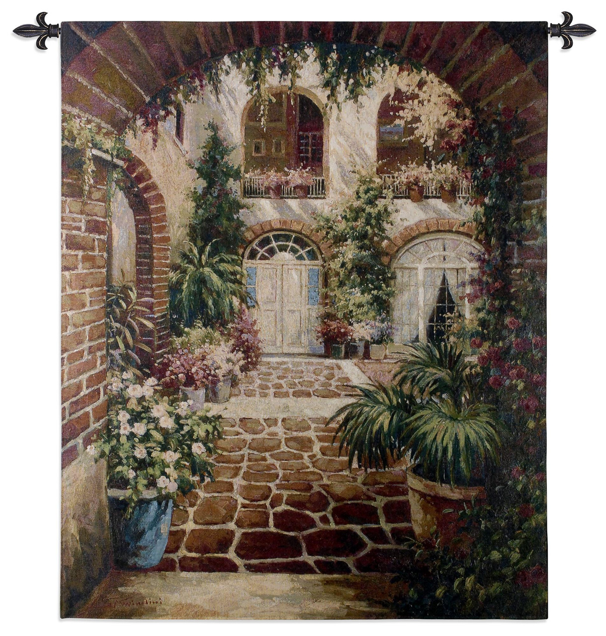 Courtyard Vista Woven Tapestry Wall Art Hanging Comforting Lush Greenery In Villa 100 Cotton Usa Size 53x42