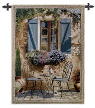 Ambiance By Bob Pejman - Woven Tapestry Wall Art Hanging For Home Living Room & Office Decor - Villa Tuscan Colorful Decorative Floral Patio Artwork - 100% Cotton - USA 53X38 Wall Tapestry