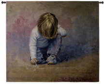 Budding Artist by Lucelle Raad | Woven Tapestry Wall Art Hanging | Realist Blond Boy Drawing with Chalk | 100% Cotton USA Size 53x47 Wall Tapestry