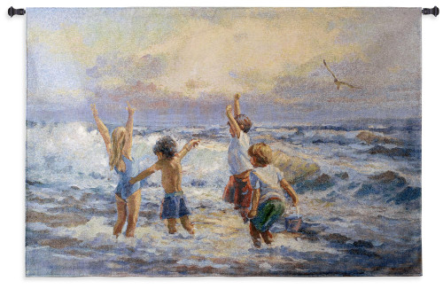 Surf Dancers by Lucelle Raad   Woven Tapestry Wall Art Hanging   Children Playing on Warm Summer Oceanfront   100% Cotton USA Size 53x36 Wall Tapestry