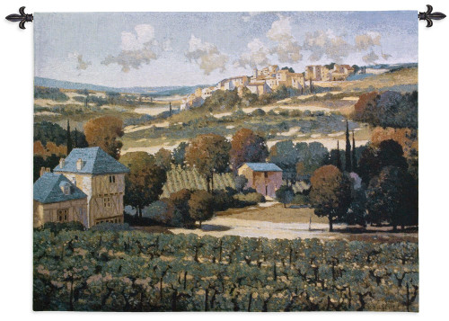 Vineyards of Provence by Max Hayslette   Woven Tapestry Wall Art Hanging   French Landscape Hillside Village Wine Country   100% Cotton USA Size 53x42 Wall Tapestry