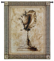 Ornamentum Stromb Gigas | Woven Tapestry Wall Art Hanging | Ancient Rustic Sea Shell on Stone Pedestal | 100% Cotton USA Size 53x42 Wall Tapestry