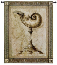 Ornamentum Umblic Nautica | Woven Tapestry Wall Art Hanging | Ancient Rustic Sea Shell on Stone Pedestal | 100% Cotton USA Size 53x42 Wall Tapestry