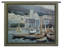 Setting Sail | Woven Tapestry Wall Art Hanging | Peaceful Harbor at Mountainside European Village | 100% Cotton USA Size 53x44 Wall Tapestry