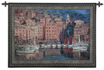 Ruby Sails by Pasqual Bueno | Woven Tapestry Wall Art Hanging | European City Harbor Sailboats | 100% Cotton USA Size 53x38 Wall Tapestry