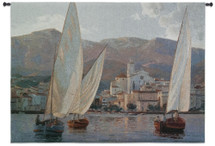 Velas en Cadaques by Kiku Poch | Woven Tapestry Wall Art Hanging | Mediterranean Nautical Impressionist Artwork | 100% Cotton USA Size 53x38 Wall Tapestry