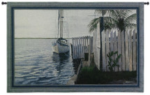 No Worries | Woven Tapestry Wall Art Hanging | Boat at Tropical Harbor with Fence | 100% Cotton USA Size 53x36 Wall Tapestry
