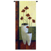Bouquet De Sept By Anderson-Tapp - Woven Tapestry Wall Art Hanging For Home Living Room & Office Decor - Contemporary Still Life Brick Red Flowers Bouquet Of Six Two White Vases - 100% Cotton - USA 62X27 Wall Tapestry