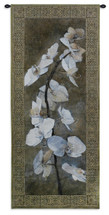 Alpha | Woven Tapestry Wall Art Hanging | Blooming White Orchids on Brown Background | 100% Cotton USA Size 63x26 Wall Tapestry