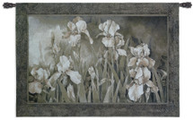 Field of Irises | Woven Tapestry Wall Art Hanging | Earthy Floral Showcase in Black and White | 100% Cotton USA Size 53x37 Wall Tapestry