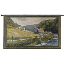 Summer Memories | Woven Tapestry Wall Art Hanging | Rustic Hillside Farm along Stream | 100% Cotton USA Size 53x31 Wall Tapestry