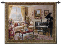 Music Room by Foxwell | Woven Tapestry Wall Art Hanging | Baby Grand Piano in Decorative Living Room | 100% Cotton USA Size 53x44 Wall Tapestry