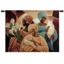Caress by Keith Mallett | Woven Tapestry Wall Art Hanging | African Women Holding Child, Bouquet, and Vase Contemporary Cultural Art | 100% Cotton USA Size 53x40 Wall Tapestry