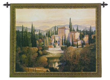 Song Of Tuscany By Max Hayslette - Woven Tapestry Wall Art Hanging For Home Living Room & Office Decor - European Landscape Tuscan Villa Stately Home Natural Pond Scene - 100% Cotton - USA 44X53 Wall Tapestry