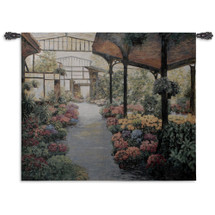 Paris Flower Market I by Ann Barnes | Woven Tapestry Wall Art Hanging | Parisian Lush Floral Greenhouse | 100% Cotton USA Size 53x46 Wall Tapestry