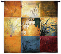 Orchid Nine Patch By Don Li-Leger - Woven Tapestry Wall Art Hanging For Home Living Room & Office Decor - Asian Modern Fusion Decorative Floral Abstract Panel Artwork - 100% Cotton - USA Wall Tapestry