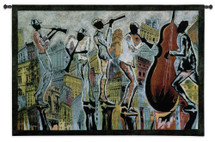 Jazz Reflections I By Corey Barksdale - Woven Tapestry Wall Art Hanging - Illustrated Musical Silhouette Musicians Play In Cityscape - 100% Cotton - USA 36X53 Wall Tapestry