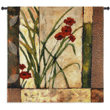 Lilies Ii By Bob Timberlake - Woven Tapestry Wall Art Hanging - Contemporary Lilt Pale Neutral Background Geometric Border Artwork - 100% Cotton - USA Wall Tapestry
