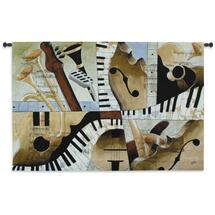 Jazz Medley I By Tom Grijalva - Woven Tapestry Wall Art Hanging For Home Living Room & Office Decor - Instrumental Abstract Original - 100% Cotton - USA 35X52 Wall Tapestry