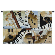 Jazz Medley I by Tom Grijalva | Woven Tapestry Wall Art Hanging | Instrumental Abstract Panel Art | 100% Cotton USA Size 52x35 Wall Tapestry