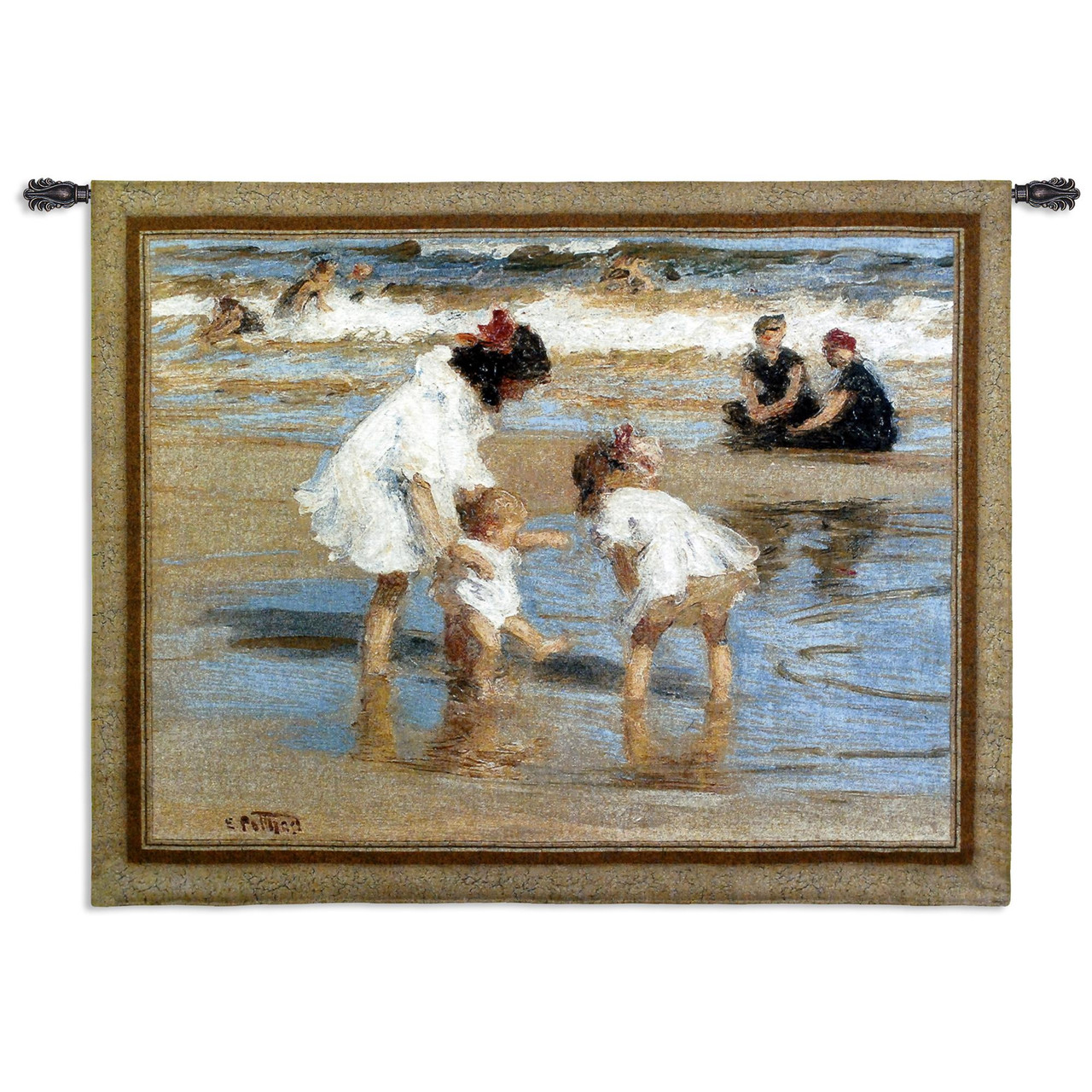 Playing At The Seashore Woven Tapestry Wall Art Hanging Abstract Nostalgic Family At The Beach 100 Cotton Usa Size 53x42