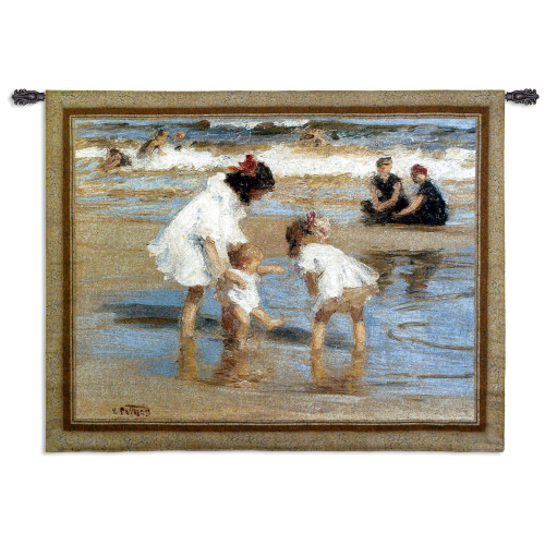 Playing at the Seashore | Woven Tapestry Wall Art Hanging | Abstract Nostalgic Family at the Beach | 100% Cotton USA Size 53x42 Wall Tapestry