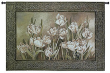 Tulips In Window By Linda Thompson - Woven Tapestry Wall Art Hanging For Home Living Room & Office Decor - Floral White Tulips In A Natural Garden Setting  - 100% Cotton - USA 36X53 Wall Tapestry