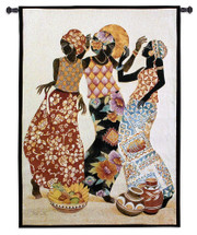 Jubilation by Keith Mallett | Woven Tapestry Wall Art Hanging | Abstract African Women Celebrating | 100% Cotton USA Size 53x39 Wall Tapestry