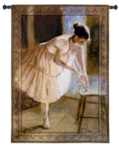 Dress Rehearsal by Richard Judson | Woven Tapestry Wall Art Hanging | Ballerina Putting On Slippers | 100% Cotton USA Size 53x38 Wall Tapestry