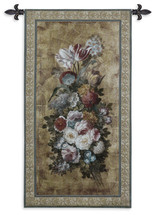 Floral Reflections II by Barbara Mock   Woven Tapestry Wall Art Hanging   Diverse Floral Centerpiece Still Life   100% Cotton USA Size 49x26 Wall Tapestry