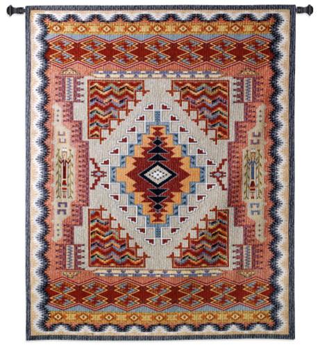 Southwest Salmon | Woven Tapestry Wall Art Hanging | Warm Desert Geometric Pattern | 100% Cotton USA Size 53x41 Wall Tapestry