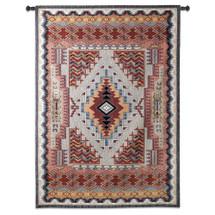 Southwest Salmon - Woven Tapestry Wall Art Hanging - Rustic Geometric Southwestern Pattern Native American Warm Tones - 100% Cotton - USA 75X53 Wall Tapestry
