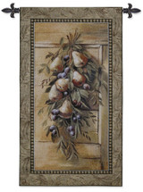 Poetic Pears by Riccardo Bianchi | Woven Tapestry Wall Art Hanging | Pear Garland on Wood | 100% Cotton USA Size 47x26 Wall Tapestry