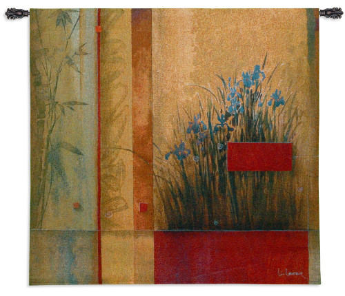 Terrazzo Garden by Don Li-Leger | Woven Tapestry Wall Art Hanging | Abstract Asian Irises on Bamboo | 100% Cotton USA Size 53x53 Wall Tapestry