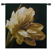 Timeless Grace I by Charles Britt | Woven Tapestry Wall Art Hanging | Photorealistic White Flower Photograph on Black | 100% Cotton USA Size 53x45 Wall Tapestry