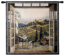 Balcony View of The Villa by Barbara Felisky | Woven Tapestry Wall Art Hanging | Peaceful Countryside Lanscape | 100% Cotton USA Size 53x53 Wall Tapestry