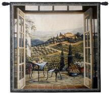 Balcony View Of The Villa By Barbara Felisky - Woven Tapestry Wall Art Hanging For Home Living Room & Office Decor - Tuscan Countryside Landscape Of A Peaceful Vinyard - 100% Cotton - USA Wall Tapestry