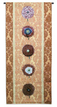 Fine Art Tapestries Floating Botanical Apricot Hand Finished European Style Jacquard Woven Wall Tapestry  USA Size 57x26 Wall Tapestry