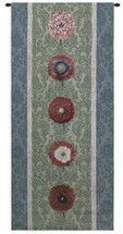 Floating Botanicals Green | Woven Tapestry Wall Art Hanging | Vertical Crimson Besler Floral Arrangement on Damask | 100% Cotton USA Size 57x26 Wall Tapestry