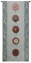 Floating Botanicals Rain - Woven Tapestry Wall Art Hanging For Home Living Room & Office Decor - Besler Florals In A Row On Damask- 100% Cotton - USA 57X26 Wall Tapestry