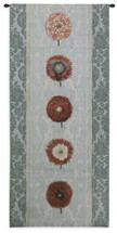 Floating Botanicals Rain | Woven Tapestry Wall Art Hanging | Vertical Crimson Besler Floral Arrangement on Damask | 100% Cotton USA Size 57x26 Wall Tapestry