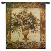 Tuscan Urn Sienna By Liz Jardine - Woven Tapestry Wall Art Hanging For Home Living Room & Office Decor - Vase Flower Bouquet Warm Earthy Color Floral Theme - 100% Cotton - USA 53X45 Wall Tapestry