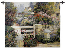 The Gate by Kent Wallis | Woven Tapestry Wall Art Hanging | English Blooming Floral Garden Fence | 100% Cotton USA Size 53x43 Wall Tapestry