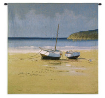 Moorings Low Tide | Woven Tapestry Wall Art Hanging | Vintage Beached Boats on Serene Coast | 100% Cotton USA Size 35x35 Wall Tapestry