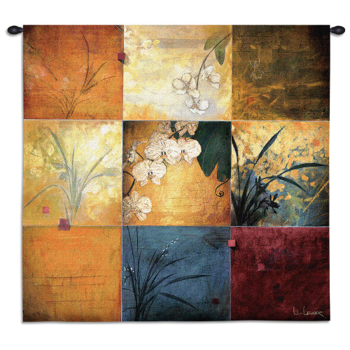 Orchid Nine Patch by Don Li-Leger | Woven Tapestry Wall Art Hanging | Abstract Asian Fusion Orchid Panels | 100% Cotton USA Size 35x35 Wall Tapestry